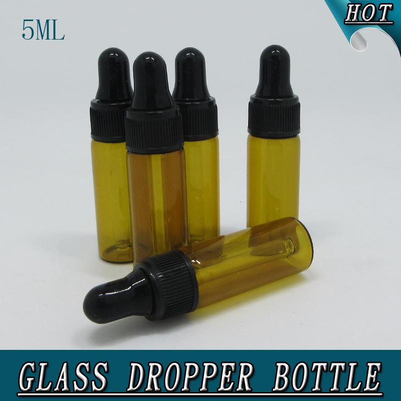 0.5oz 5ml Mini Amber Glass Bottle with Dropper Tubular Glass Vial