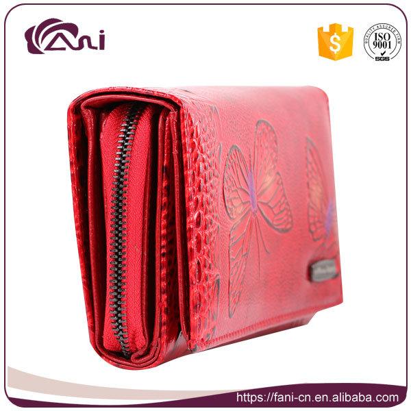 Custom Print Leather Wallet Butterfly Printed Women Genuine Leather Wallet