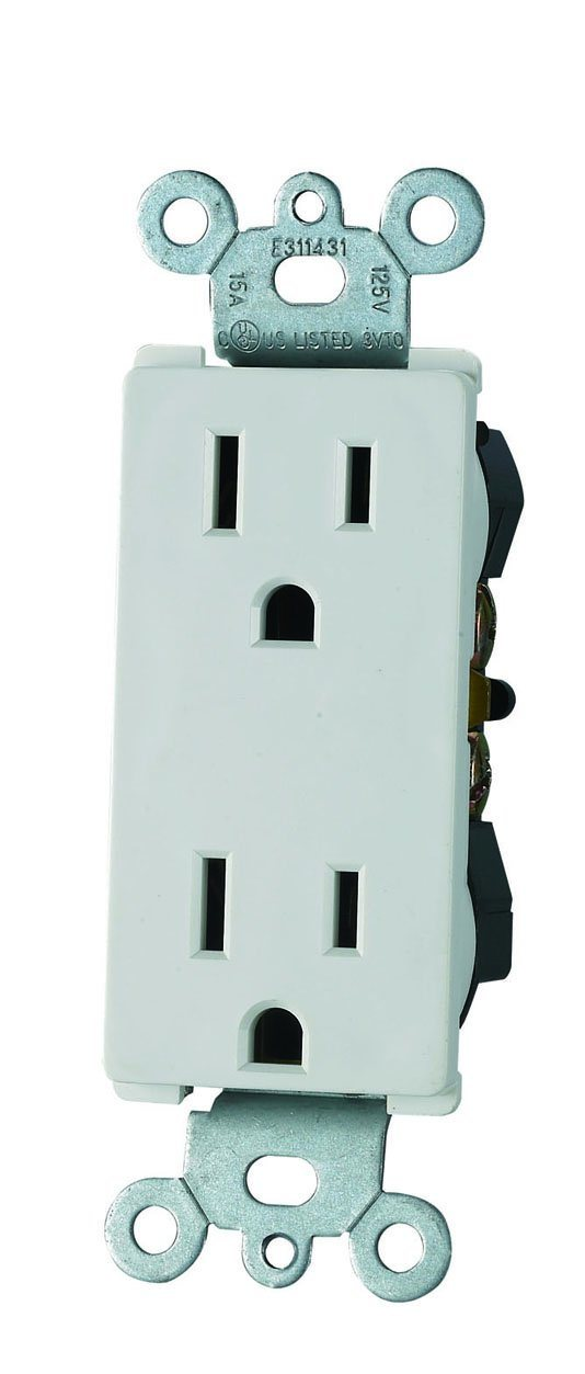 Decora Duplex Receptacle, Straight Blade, Self-Grounding, UL Listed