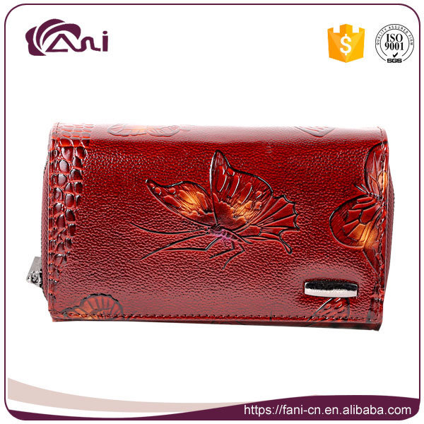 Custom Print Leather Wallet Butterfly Printed Women Genuine Leather Wallet