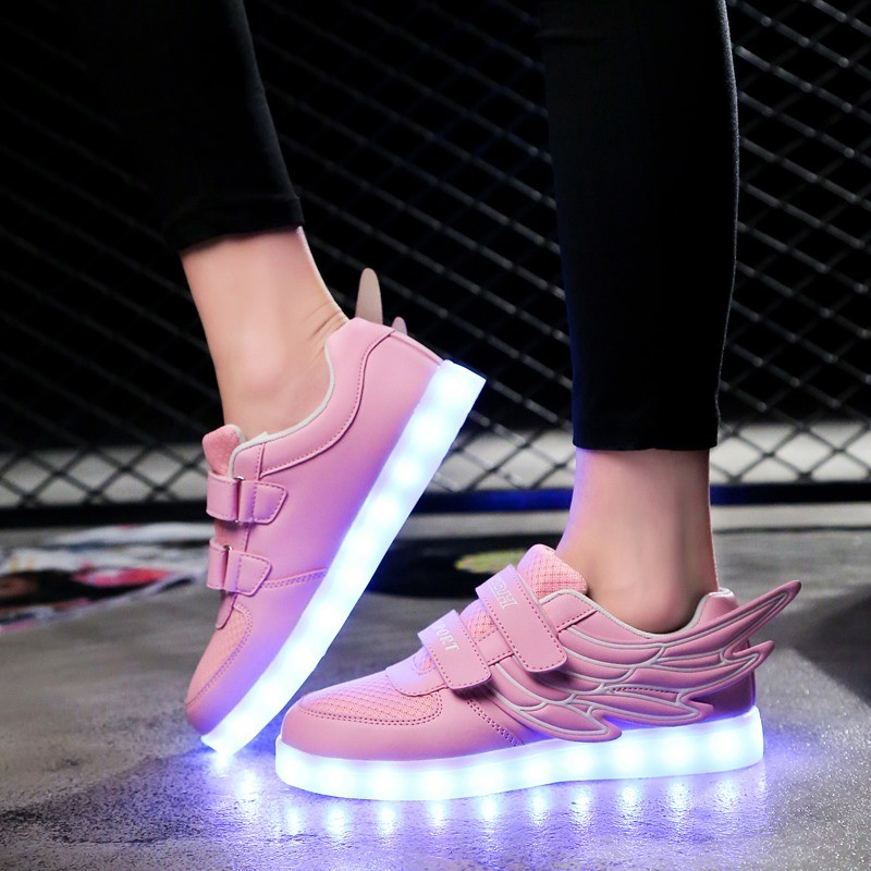 Angel Wings Children Shoes Charging Light Sports Shoes USB Charging Children Luminous Shoes Tide