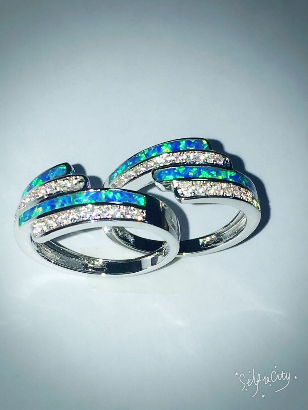 Silver Created Opal Jewelry Rings