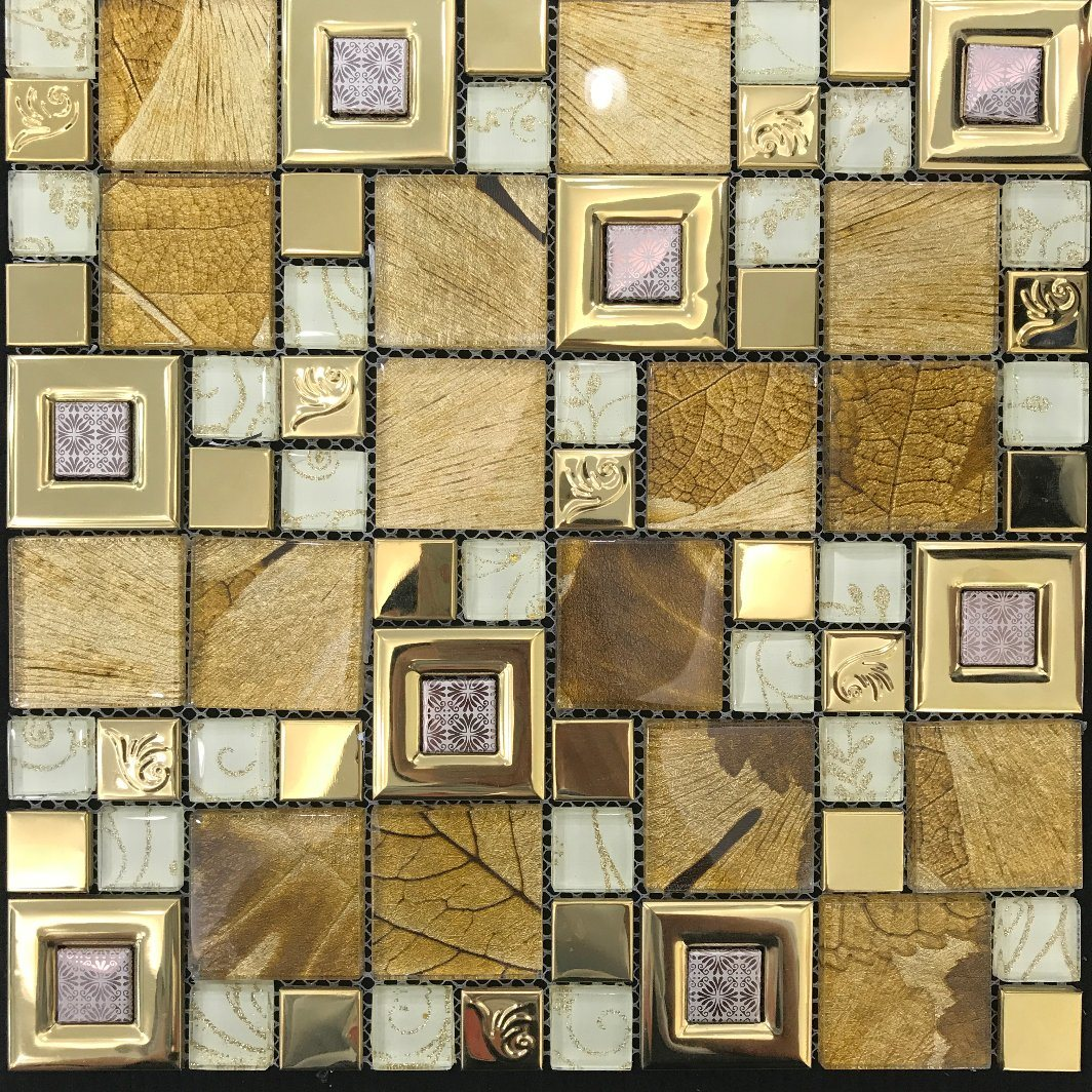 Building Material Interior Wall Tile Laminated Glass Mosaic (M655002)