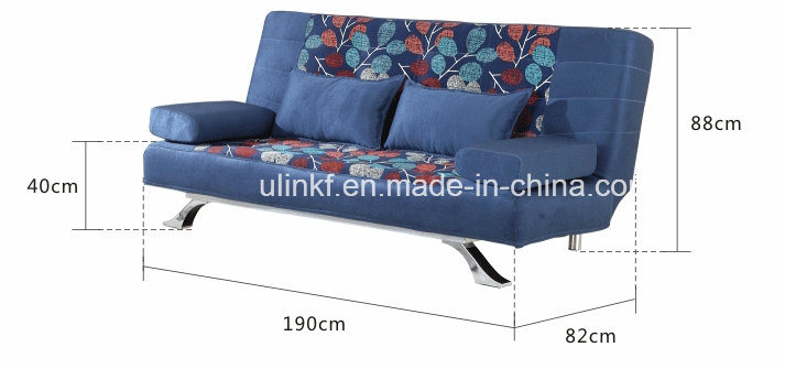3 Seats Foldable Living Room Bed Function Leather Sofa (HX-AC057)