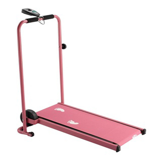 Pink Home Gym Foldable Body Building Workout Mini Manual Treadmill