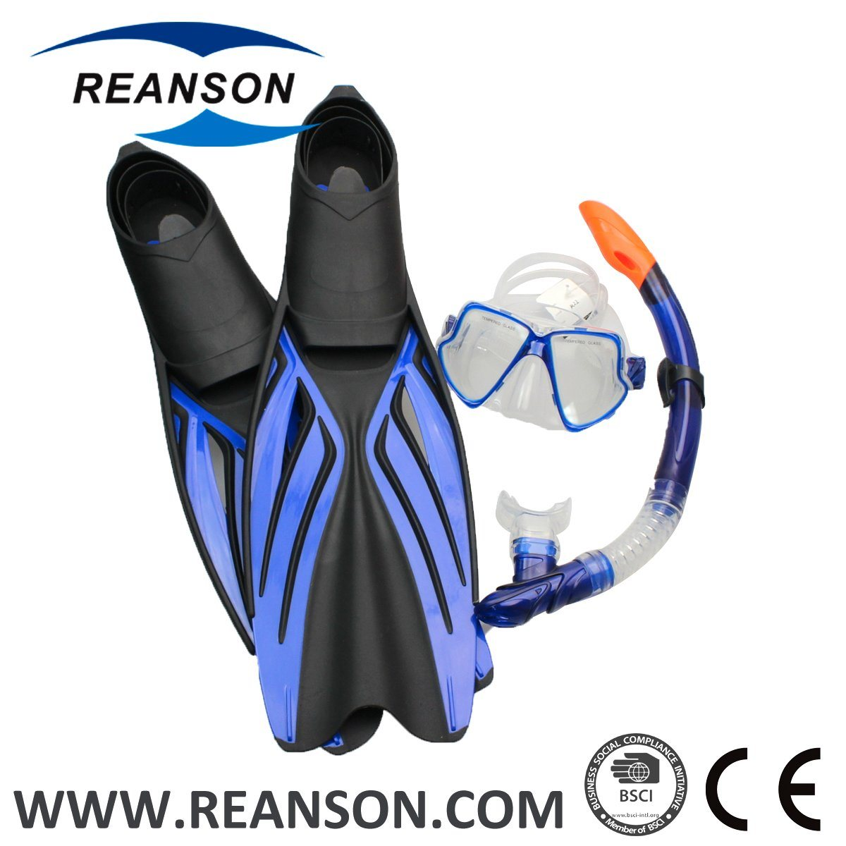 Reanson High Quality Silicone Diving Mask Fins Snorkel Set
