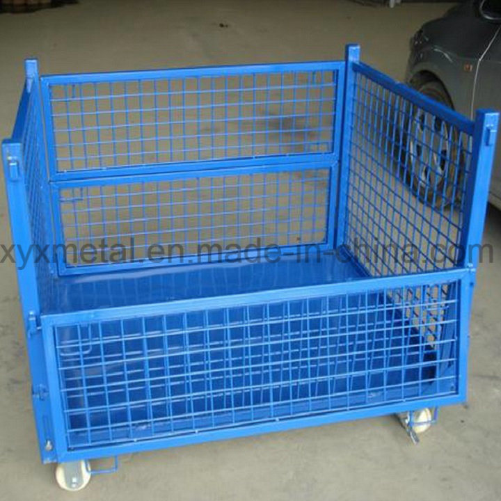 Exported Warehouse Folding Storage Metal Stacking Steel Wire Mesh Container