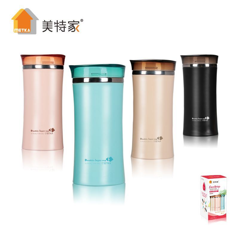 Plastic Stainless Steel Water Cup with Stainless Steel Filter 420ml
