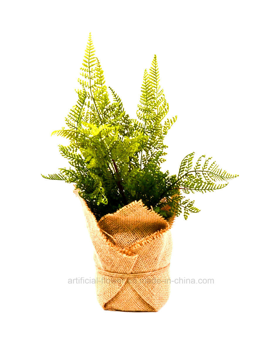 Life-Like Artificial Green Plants Wrapped by Flax Bag for All Public Decoration