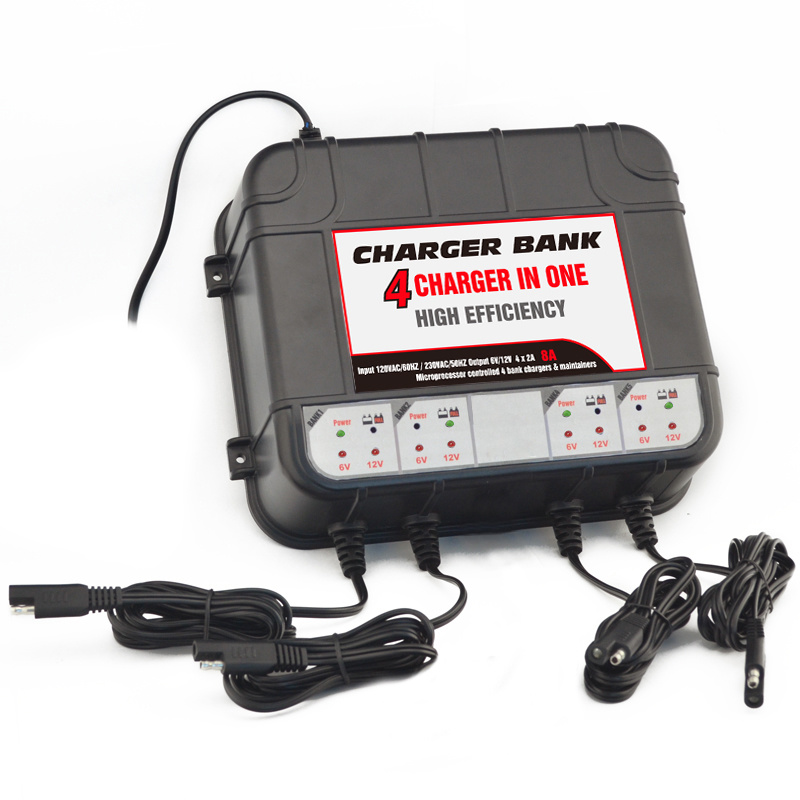 12 Volt Smart Battery Chargers -4 Bank Battery Chargers