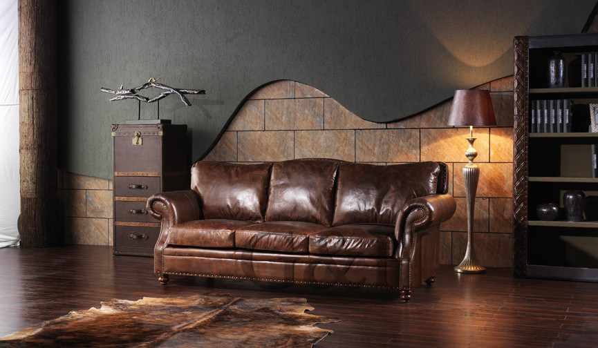 American Style Living Room Furniture Leather Sofa