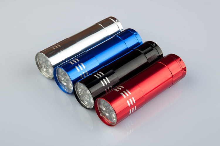 9 LED Mini Aluminum Flashlight Torch with Lanyard