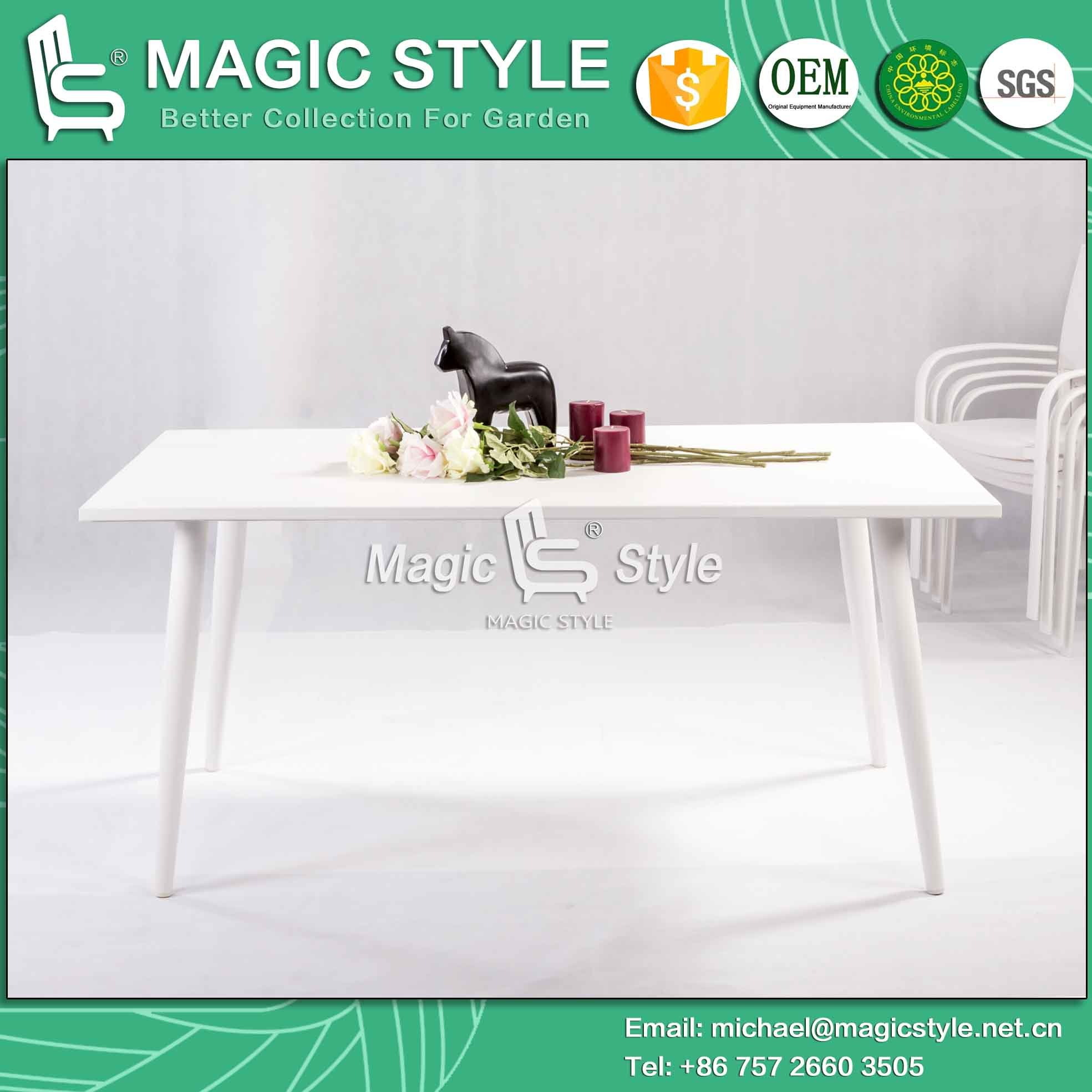 Modern Aluminum Table Outdoor Rectangle Table Garden Dining Table (Magic Style)