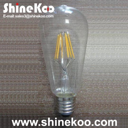 Glass St64 6W LED Filament Bulb (SUN-6WST64)