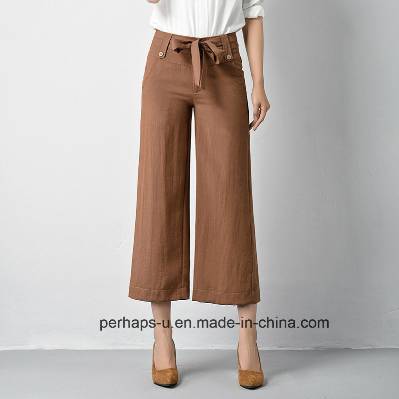 New Collection Ladies Palazzo Pants with Drawstring Decorating