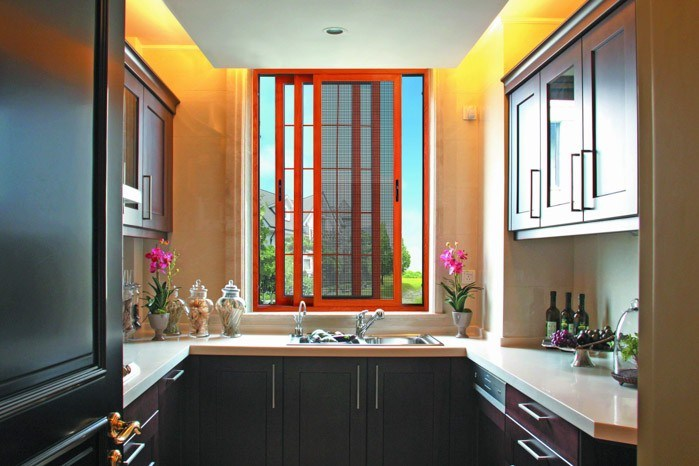 Window with Metal Mesh/Aluminum Sliding Window for Kitchen