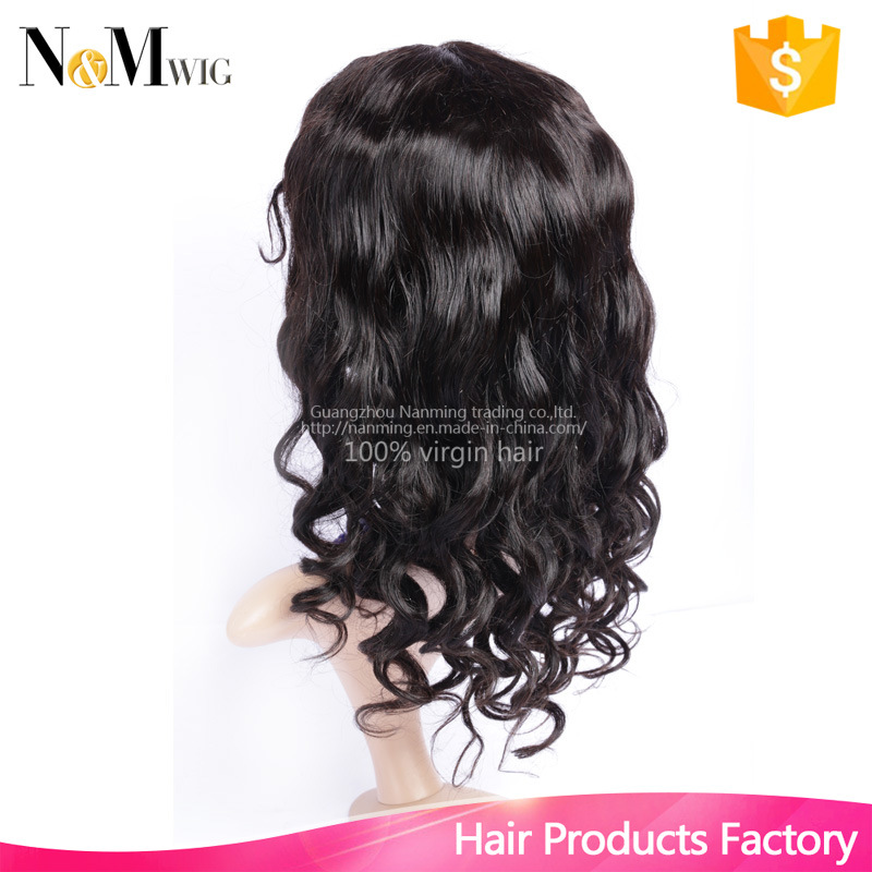 Glueless Cap with Combs and Straps Loose Curly Wave Wig Natural Black Hair Color Can Be Dye 100% Natural Hair Wigs