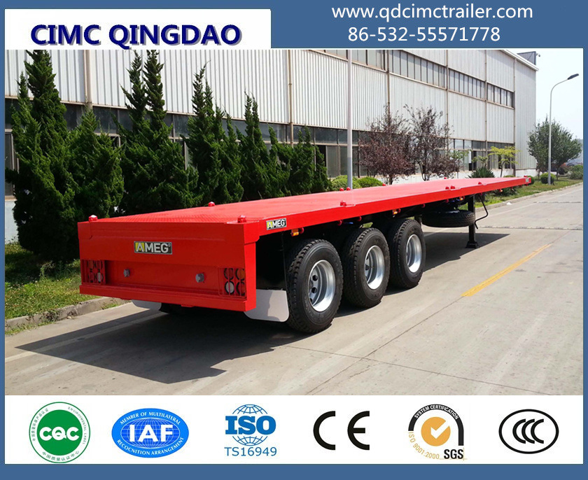 40 Tons 3 Fuwa Axle Platform Flatbed Semi Trailer