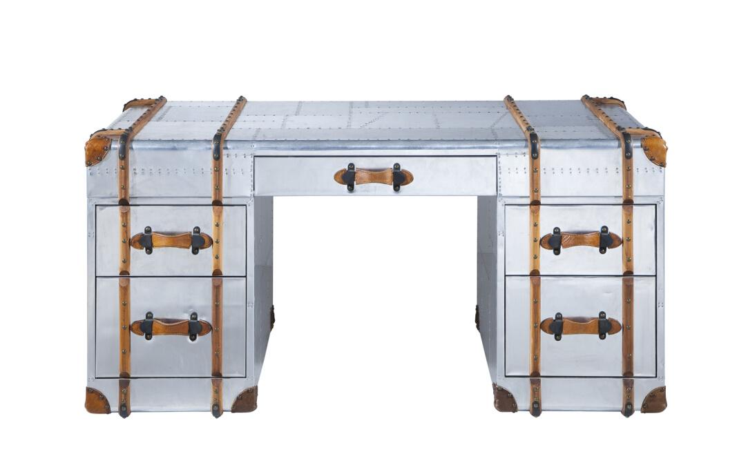 Richard Trunk Aviator Aluminum Desk, Classic Office Desk Rtk-63