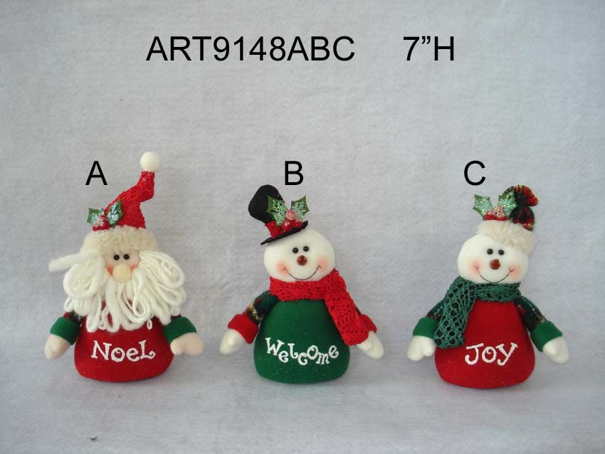"""11""""H Floral Santa and Snowman Christmas Home Decoration with Twig Arms, 3 Asst"""