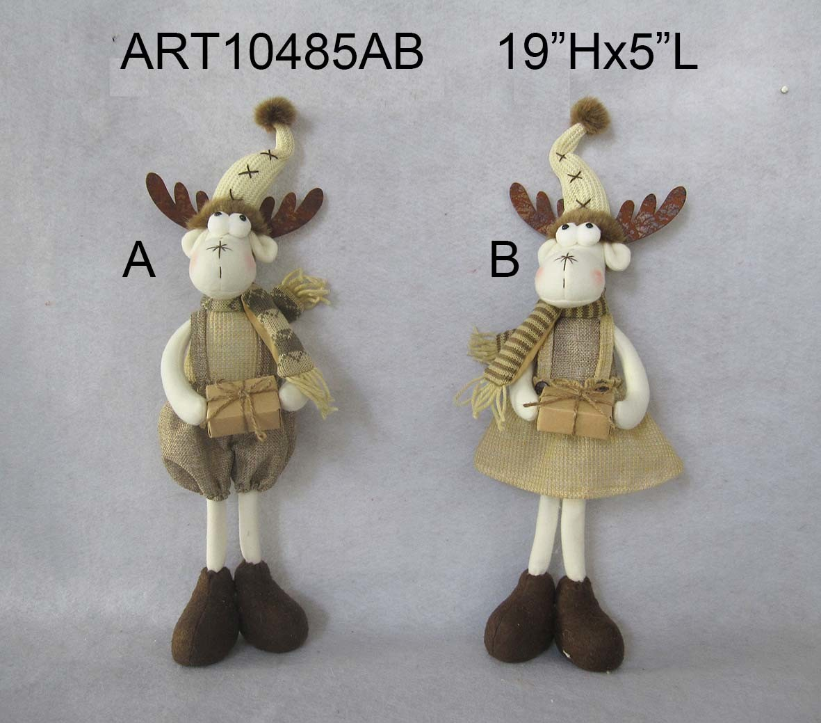 "Dia 42"" Skating Reindeer Jute Treeskirt with Furry Trim"