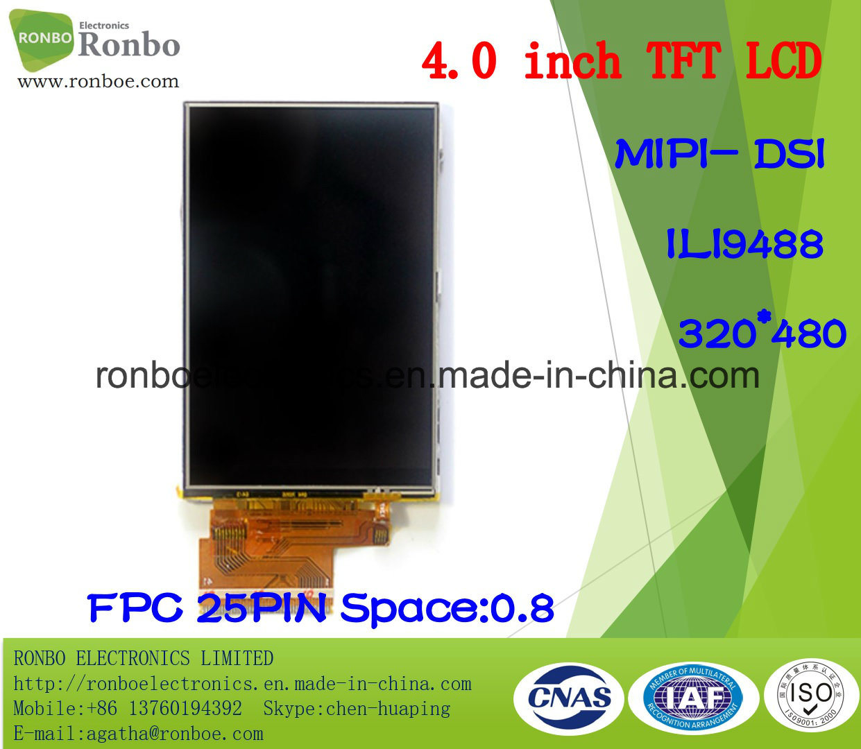 "4.0"" 320X480 Mipi TFT LCD Module, Ili9488, 25pin for POS, Doorbell, Medical"