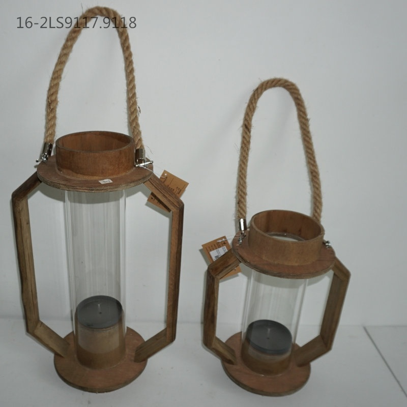Wooden with Flax Handle on The Top of Lanterns