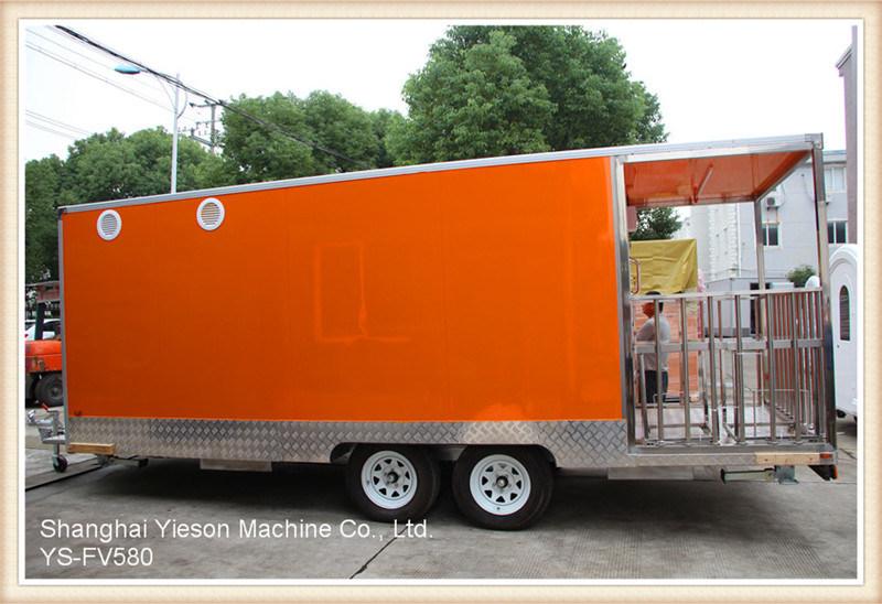 Ys-Fv580 5.8m Orange Large Camper Van Food Trucks Mobile Food Trailer