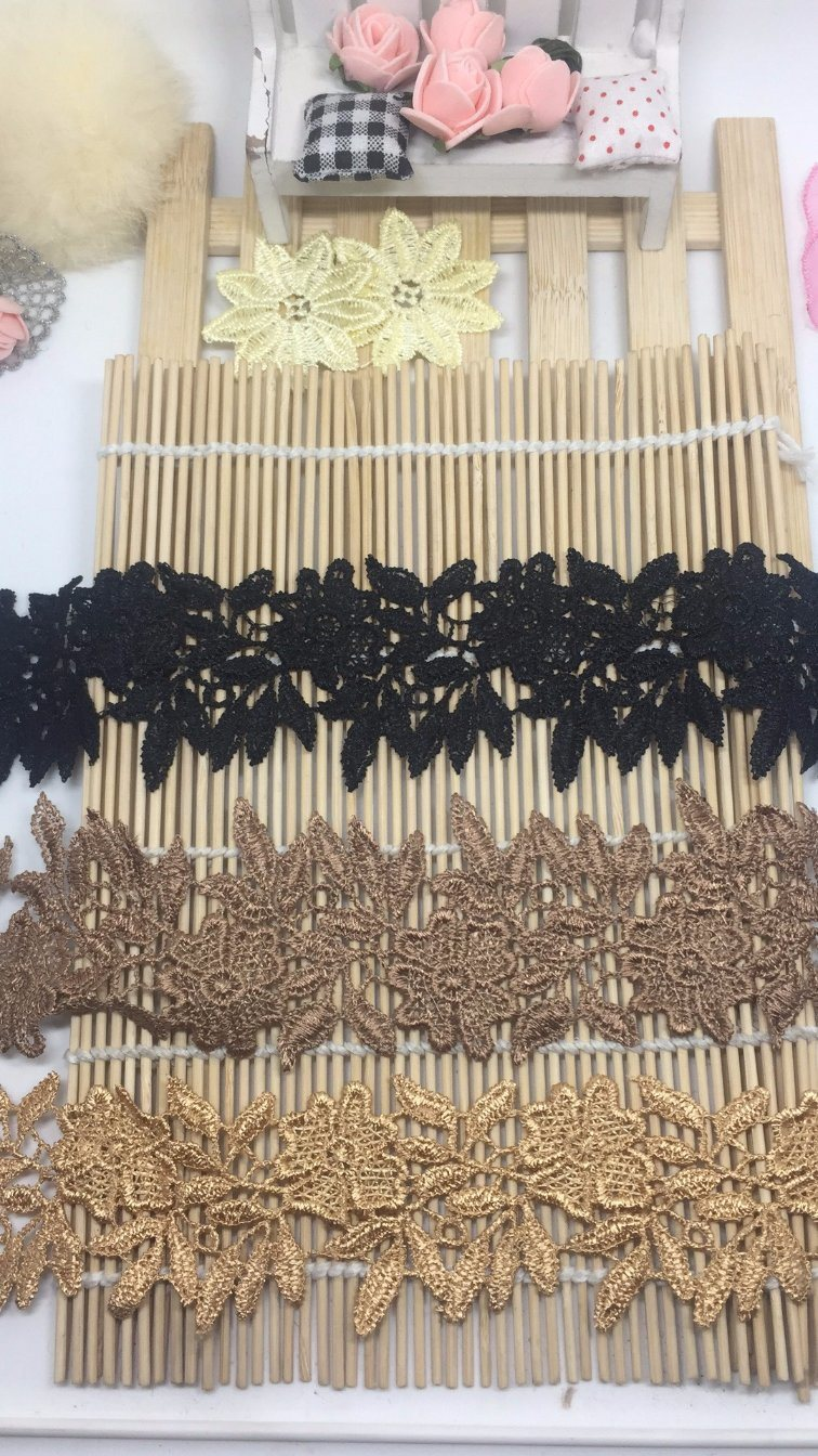 5.5cm Width Factory Stock Outlets Embroidery Trimming Polyester Lace for Garments Accessory & Home Textiles & Curtains & Panels & Table Cloths Decoration (SVS3)