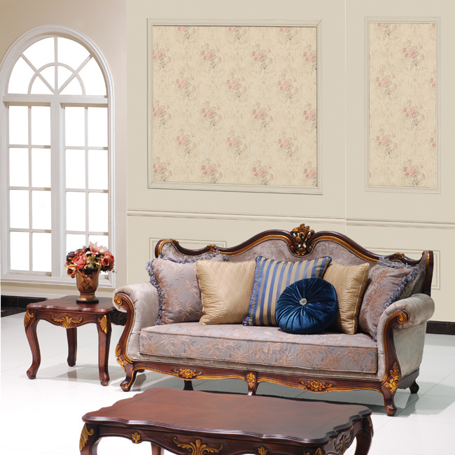 Classical Fabric Sofa Set Traditional Home Couch with Carved Wood Trim for Living Room