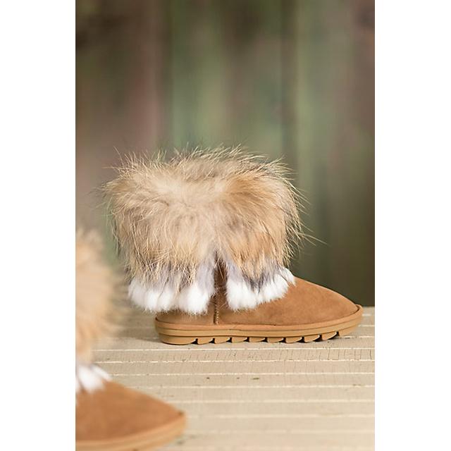 Women′s Sheepskin Boots with Raccoon Fur Trim and Rabbit Fur