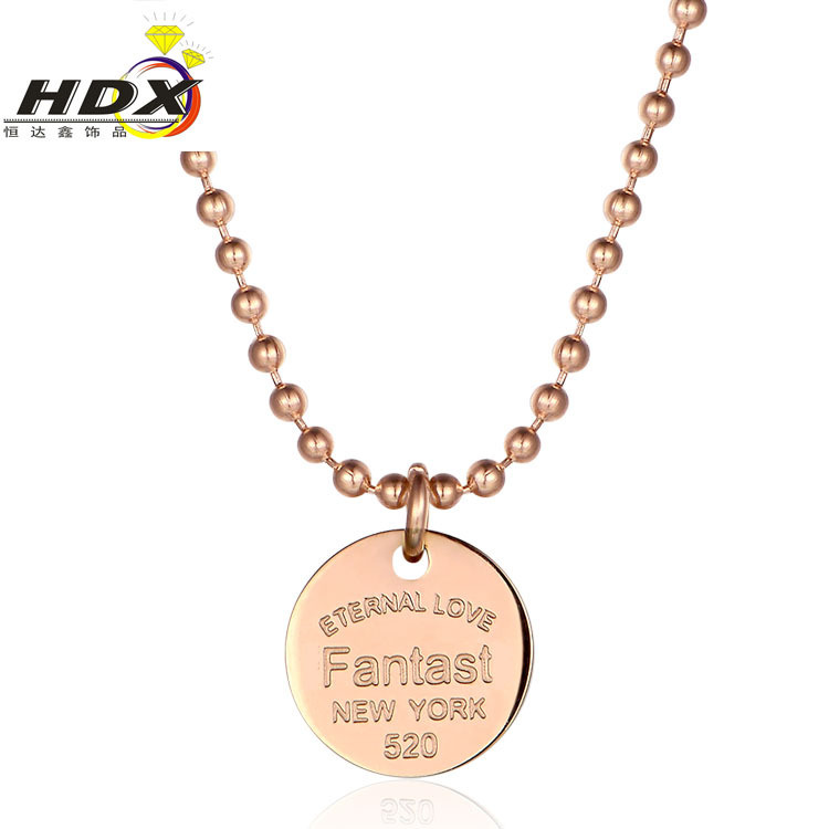 Jewelry Fashion Necklace Women Customized Round Bead Chain Pendant