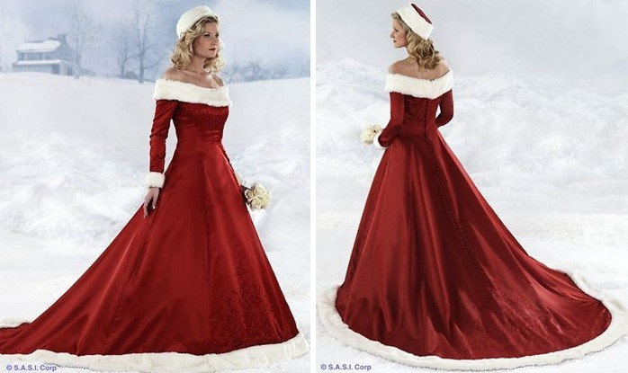 Off the shoulder fur taffeta unique christmas color wedding dresses