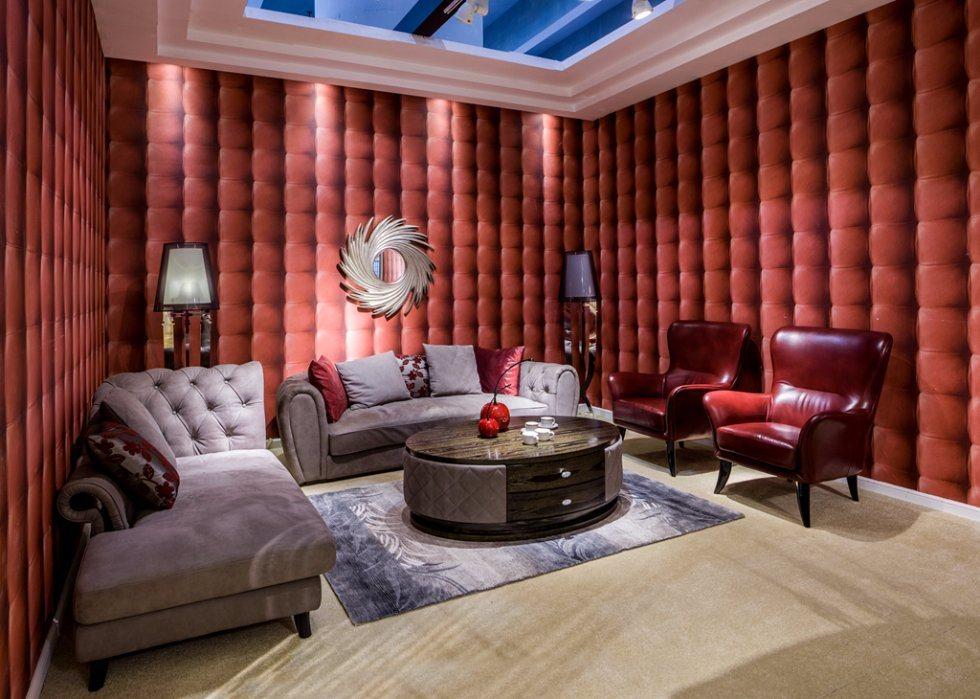 Italian Design Villa Furniture Leather Fabric Sofa