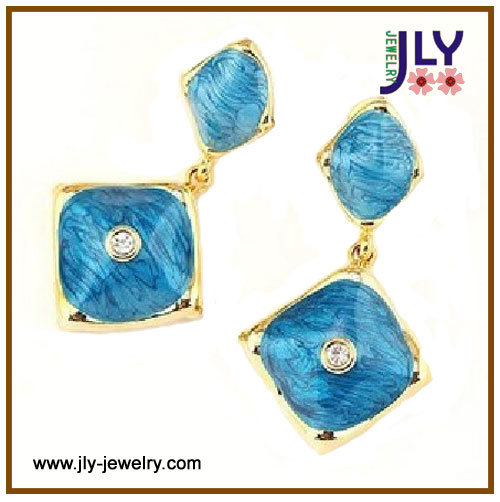 Wholesale Alloy Gold Plating Enamel Hand Made Fashion Jewelry Earrings