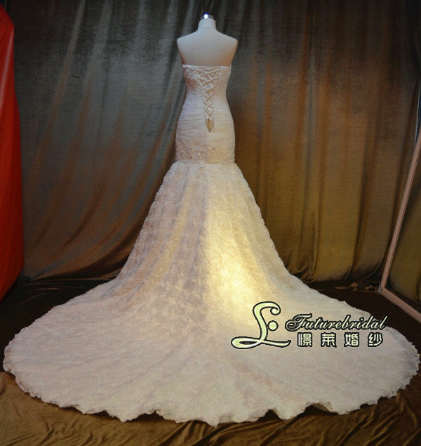 2014 Latest Fishmaid Wedding Dress and Franch Lace Wedding Gown From Wedding Dresses Factory (JL1348)