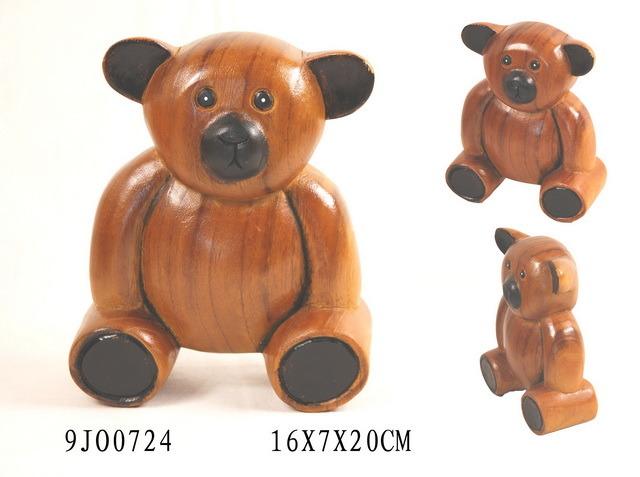 Wooden Hand Carving Bear Craft (9JO0742)