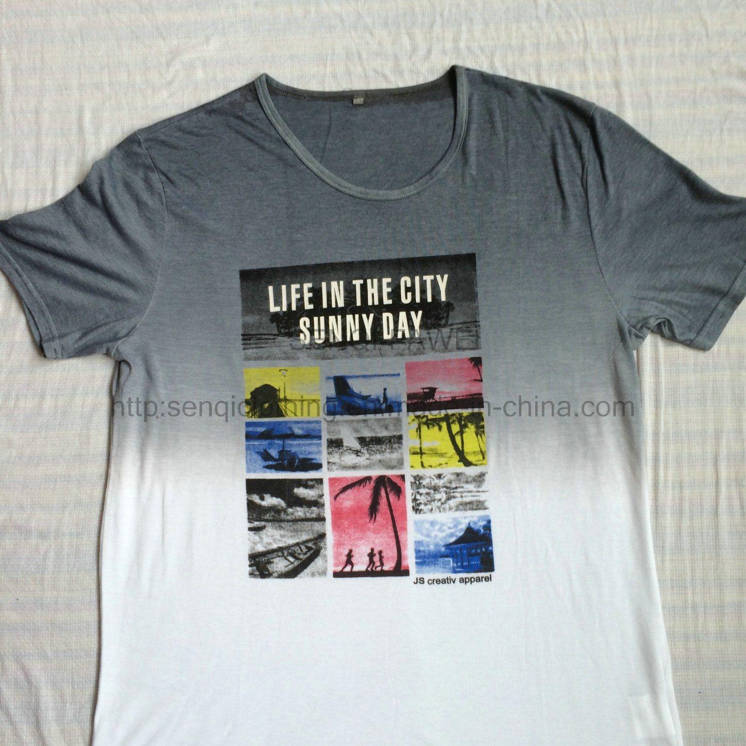 Summer White DIP Dye T-Shirt in Man Sport Knitwear Clothes Fw-8677