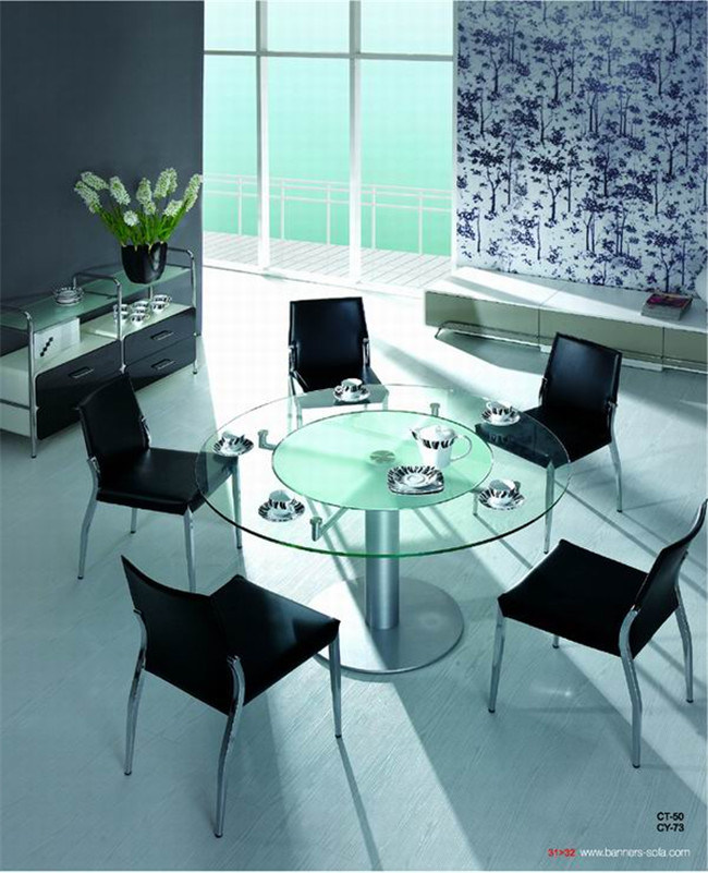 Stainless Steel Legs with Glass Top Dining Table Set