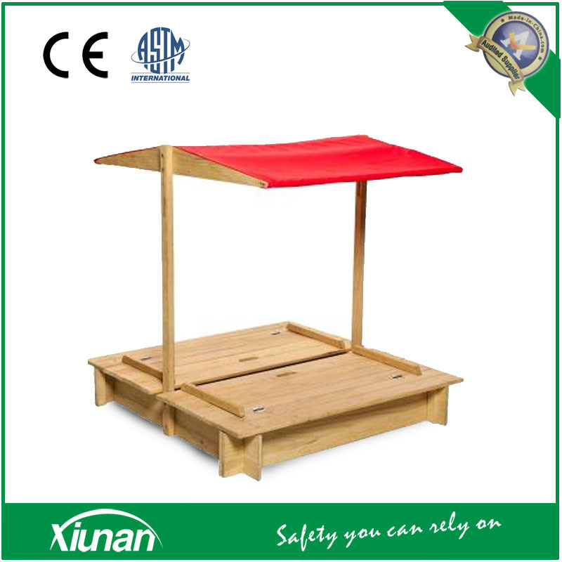 Foldable Convertible Transformable Wooden Sandpit and Sand Box with Canopy and Bench