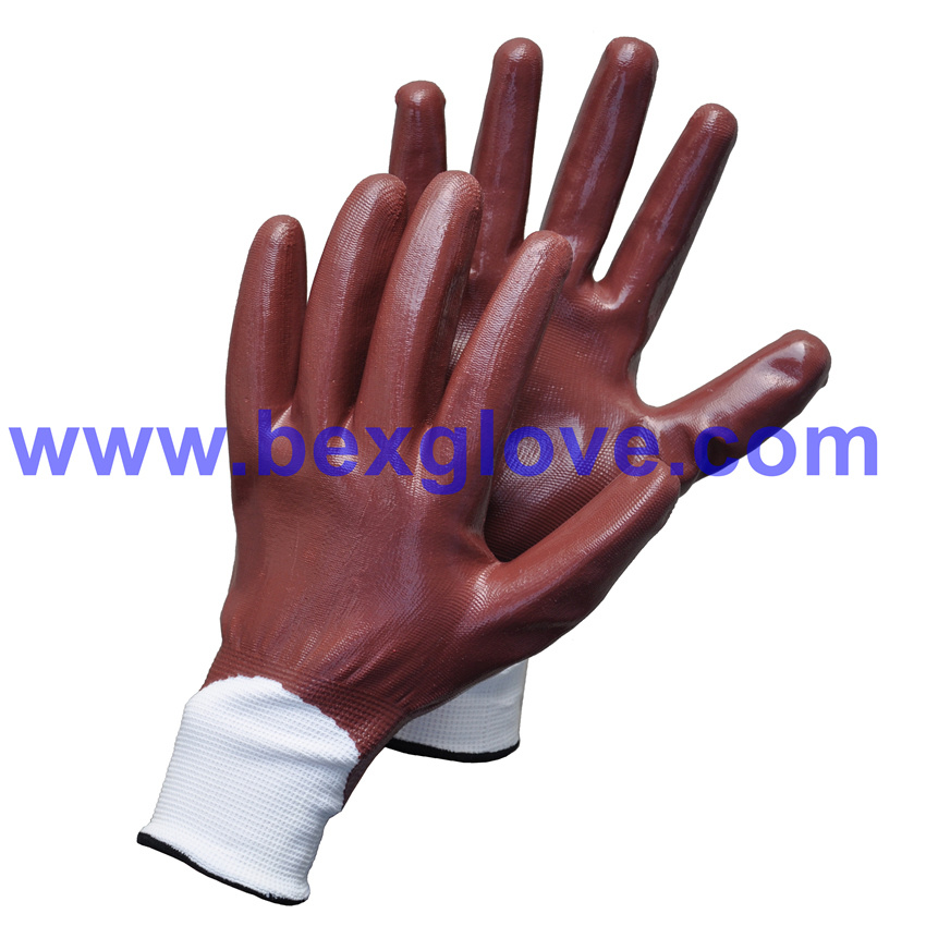 13 Gauge Polyester Liner, Nitrile Coating, Fully Safety Gloves