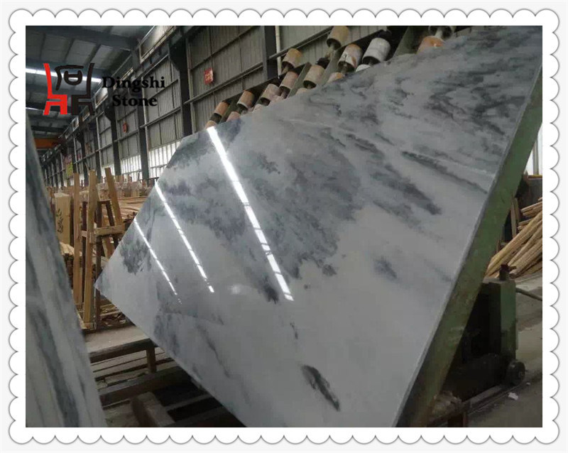 White with Grey Landscaping Veins Marble Slab From China for Wall Cladding/ Flooring