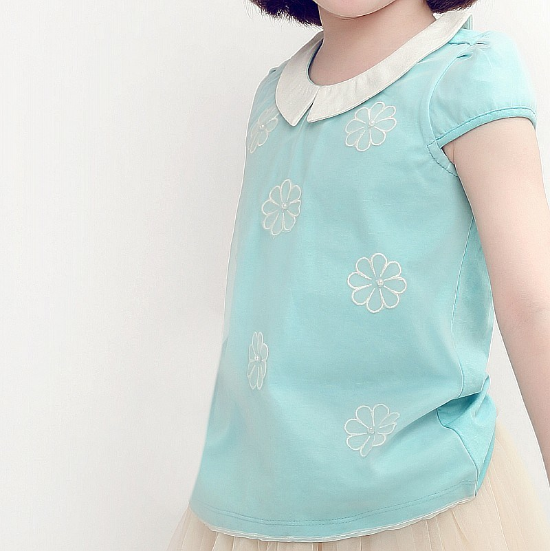 Embroidery Cotton Short Sleeve T-Shirt for Sweat Girls