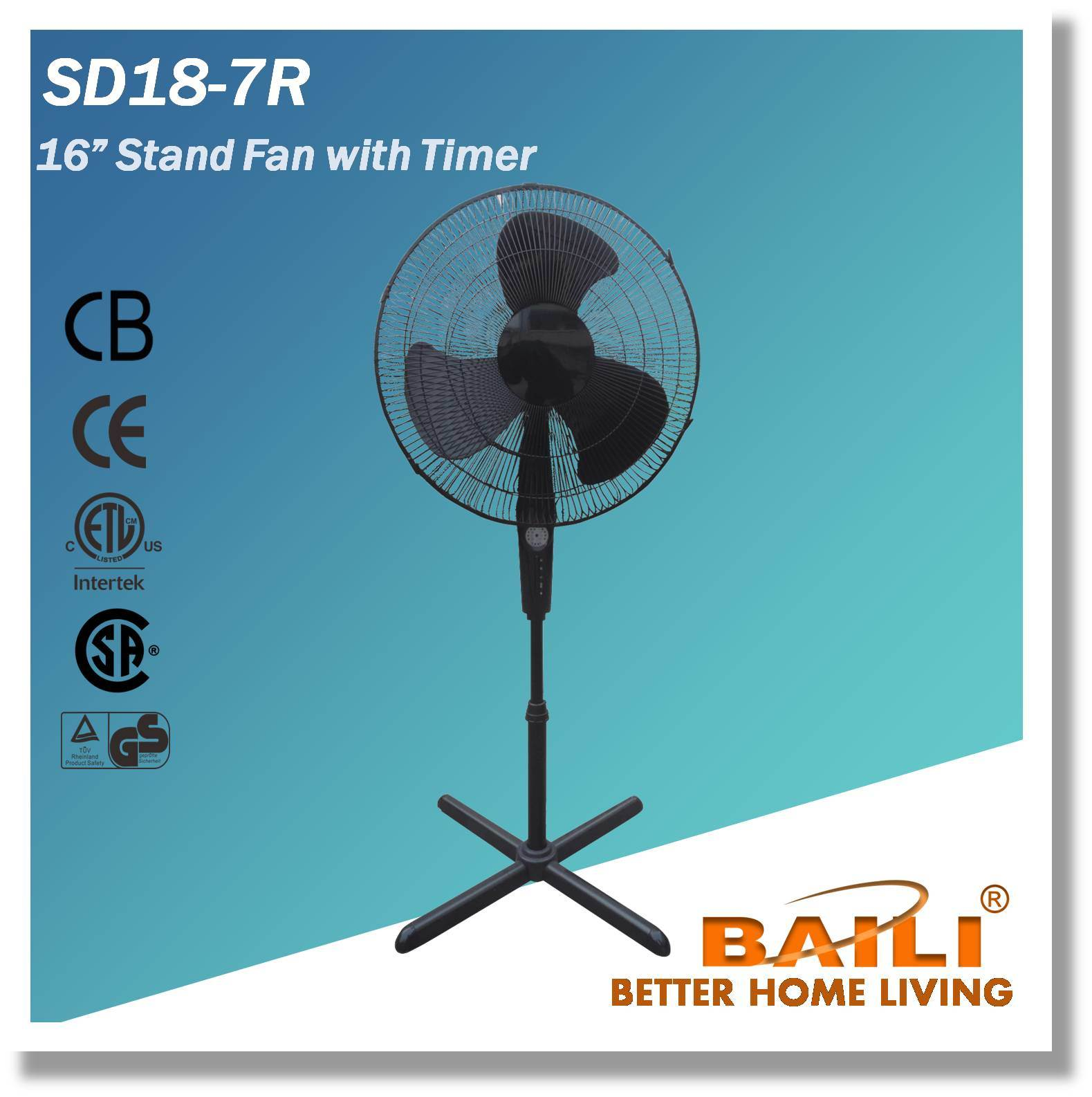 "18"" Pedestal Fan, 3 Speeds, 7.5 Hours Timer"