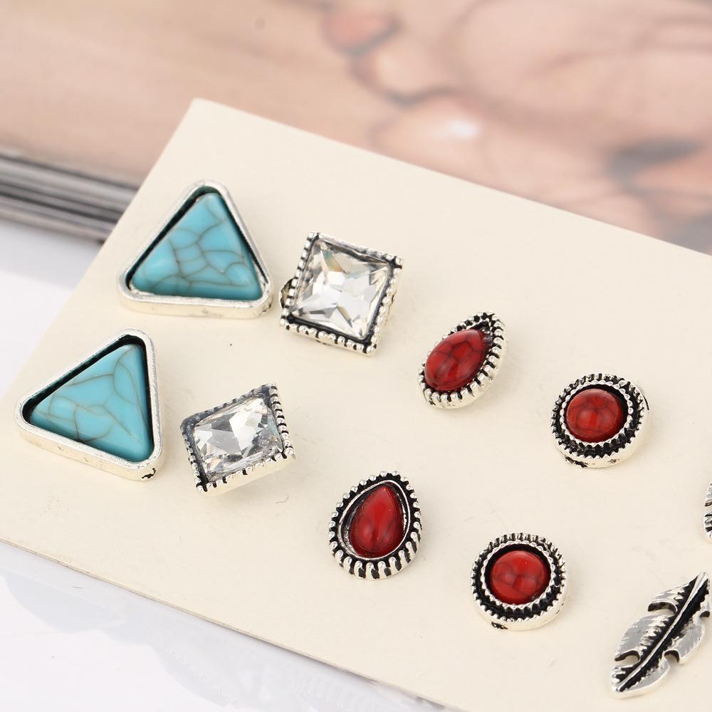 Costume Jewelry- Vintage Turquoise Crystal Stud Earrings Set Jewelry Gift