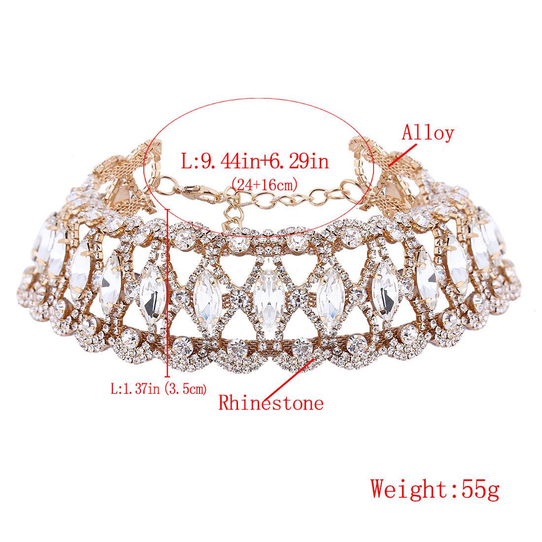 Fashion Luxury Glittering Full Rhinestone Collar Choker Necklace Jewelry