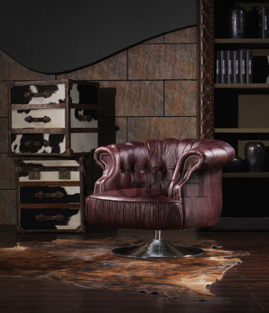 Leather Upholstered Lounge Chair