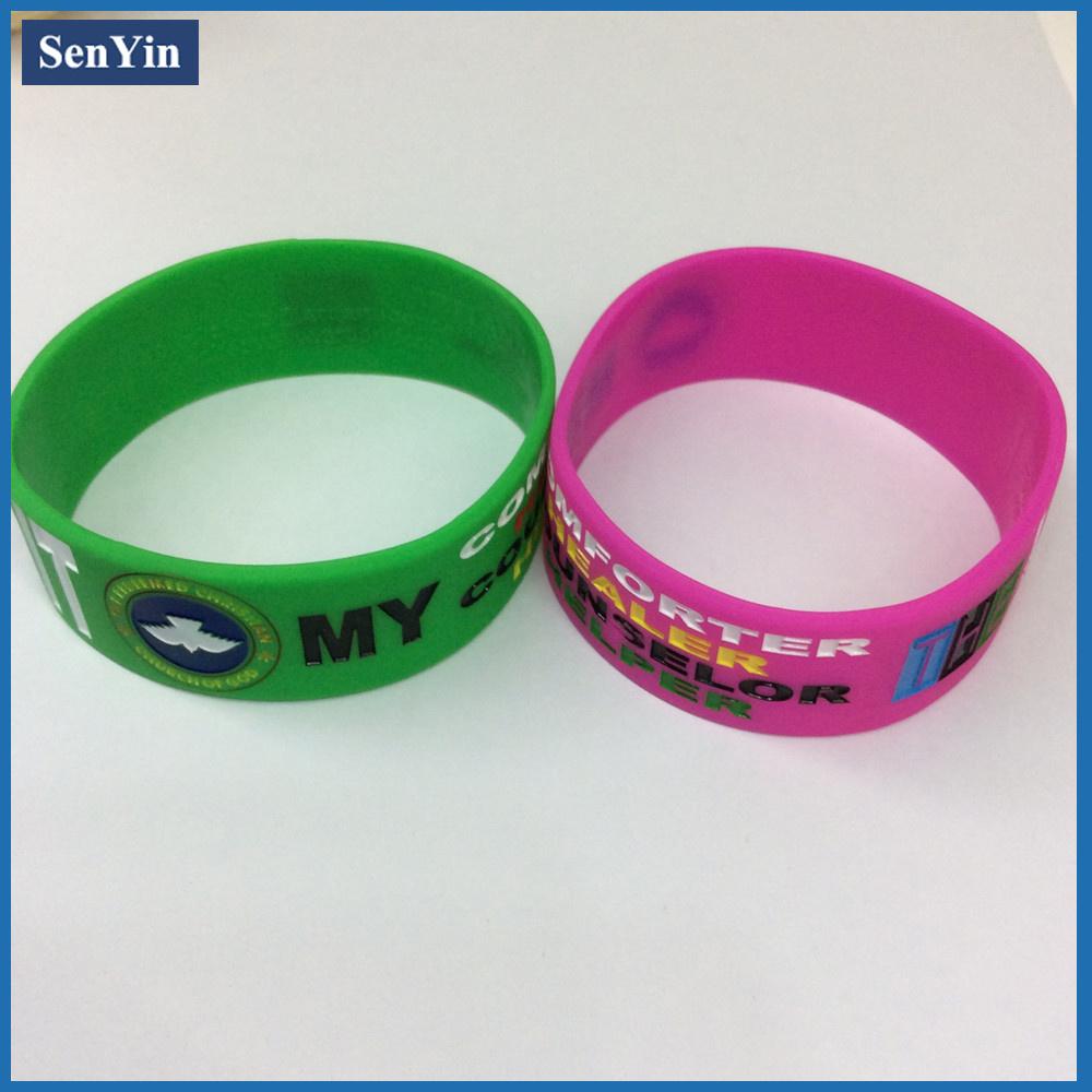Debossed Color Filling Wrist Bracelet Silicone Band