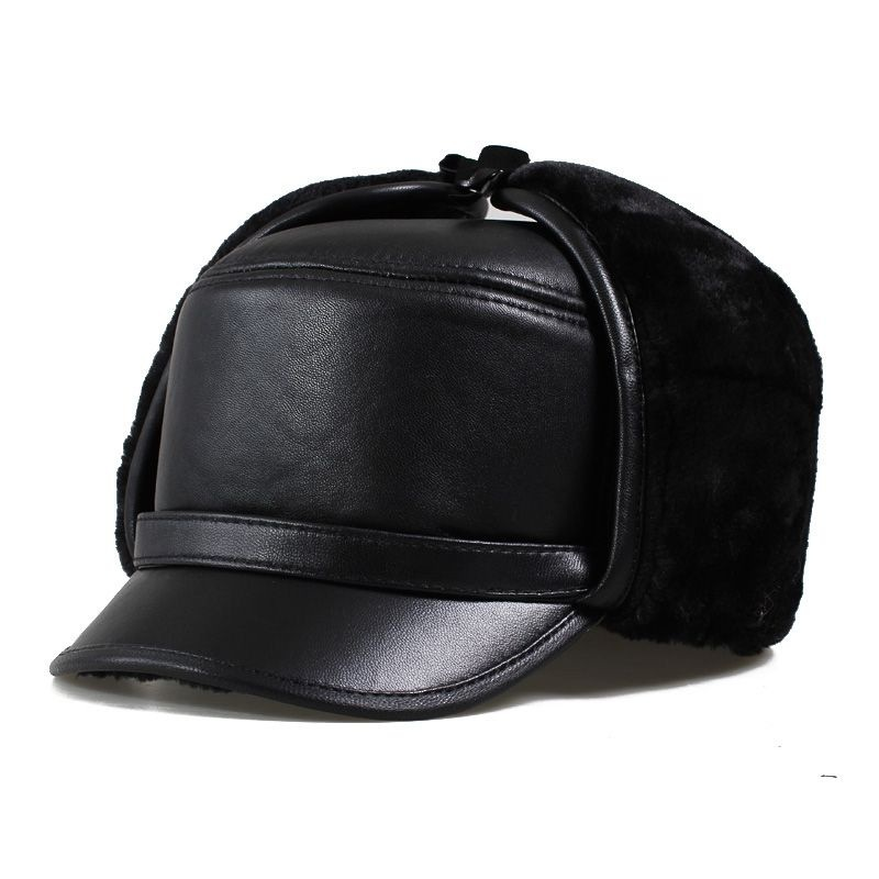 Solid Black Leather Trapper Hat