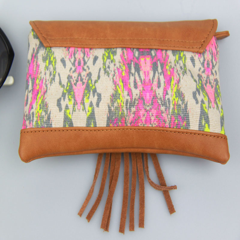 Boho Canvas Contrast PU Purse, Multicolor Women Canvas Wallet Fashion Accessory